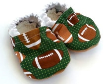 football baby shoes, baby booties, football clothing, green booties, moccasins for baby, baby shower gift, sports theme baby gift, baby shoe