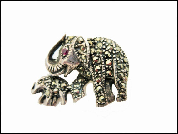 Sterling  Elephant Brooch - silver marcasites - red eyes - mother and baby elephant pin