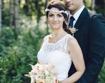 Bridal flower crown, Wedding hair accessories, Ivory wreath, Floral headband, Rustic headpiece, babys breath wedding, style ***Eve***