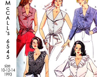 McCall's 6545 Tie-front Shirt with Collar Variations Sewing Pattern - UNCUT - Size 10-12-14 - Vintage 1993