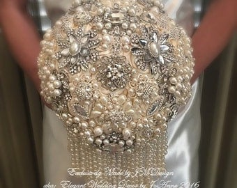 Ivory Pearl Brooch Bouquet,  DEPOSIT,  Ivory and Silver Brooch Bouquet with Hanging Pearl Strands, Bridal brooch Bouquet with Pearls