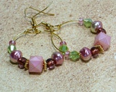 Pink, Green and Gold Hoop Earrings: Beaded Hoop Dangle Earrings, Nickle-Free French Hook Earwires, Handmade in the USA, Ready to Ship