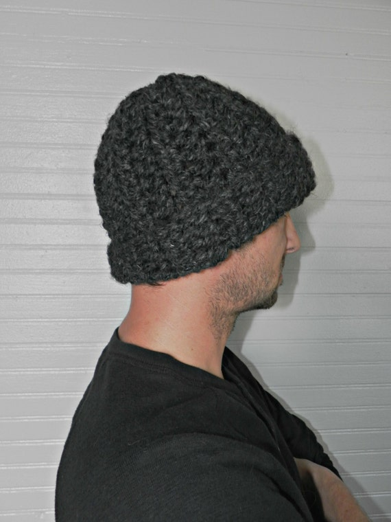 Chunky Wool Crochet Fold Up Men's Winter Hat // The Stratford // Charcoal