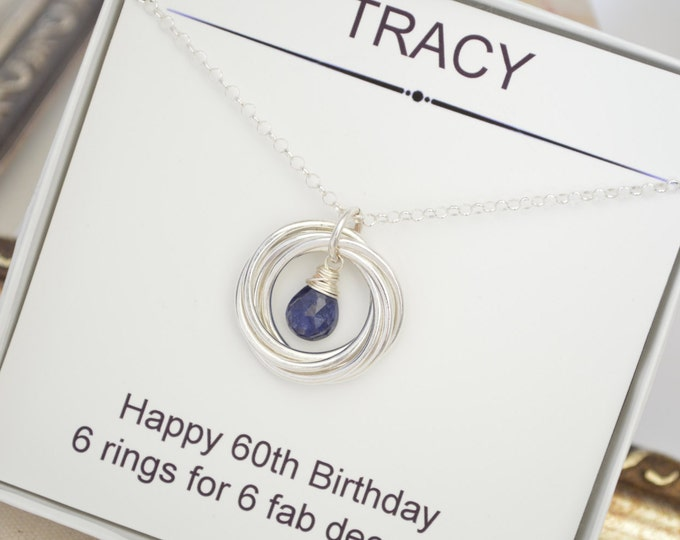 Mother jewelry, Gift for mother necklace, 60th Birthday gift for wife, Blue Sapphire necklace, September birthstone necklace, Sister jewelry