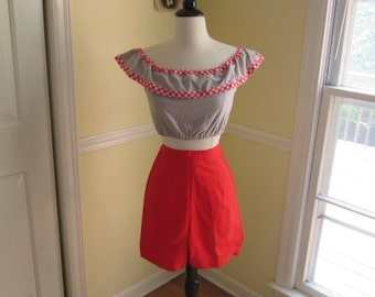 Bad Girl Vintage 1950s 50s Lipstick Red Cotton Booty Shorts -Deadstock/Nos- Cheesecake-JD-Pinup-Vixen-Bombshell-VLV-Pool Party