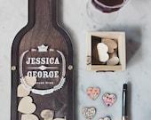 Wine Bottle Wedding Guest Book alternative - Drop Hearts 21st birthday, anniversary gift-  SIZE 1