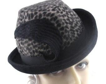 Womens Hat Black Beige Fur Felt Print Long Hair Fedora Bowler Feather Handmade Hat Cloche Church Hat Art Deco Custom Made for Each Client