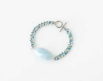 Soothing Light Blue Aquamarine Bracelet, March Birthstone Jewelry