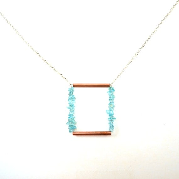 Apatite Copper Geometric Necklace