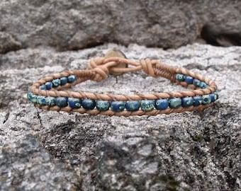 Blue Single Wrap Bracelet, Lapis Blue, Denim Blue Mens Braclet, Womens Bracelet, Hipster Bracelet, Boho, Western Bracelet, Southwestern