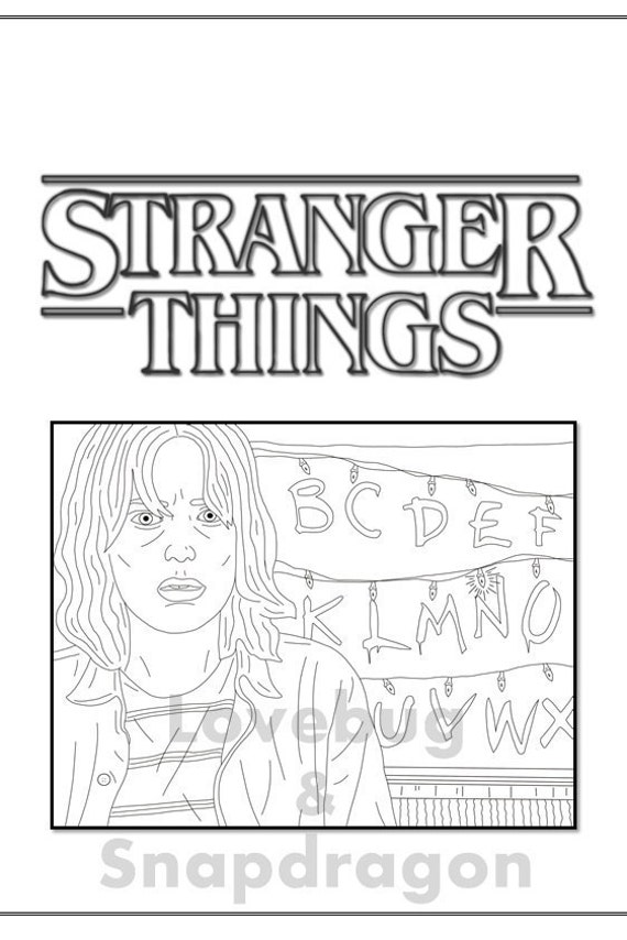 Stranger Things Coloring Book  Instant Printable Digital