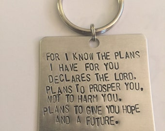 Jeremiah 29:11 Hand Stamped Square Keychain