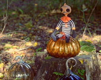 Halloween Pumpkin Art Doll - Pumpkin Underling - Doll Artist Cheryl Austin