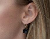 Black Teardrop Earrings-O...