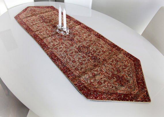 SALE30%- Traditional brown and khaki table runner- Persian motifs elegant handmade silk woven decorative tablecloth- was 86.00