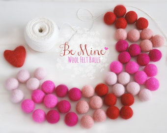 Valentine's Felt Balls - 100% Wool Felt Balls - 50 Wool Felt Balls - (18 - 20mm) - Felt Balls Valentine's Garland - 2CM Valentine's Pom Poms