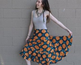 African Wax Print Ruffle Skirt // Ooak Patchwork Hippie Tier Skirt