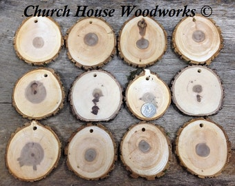 """DIY 25 THICK CUT 3""""+ Wood Slice Ornaments use for Christmas, rustic weddings, country decor, tree slice ornament, dark"""