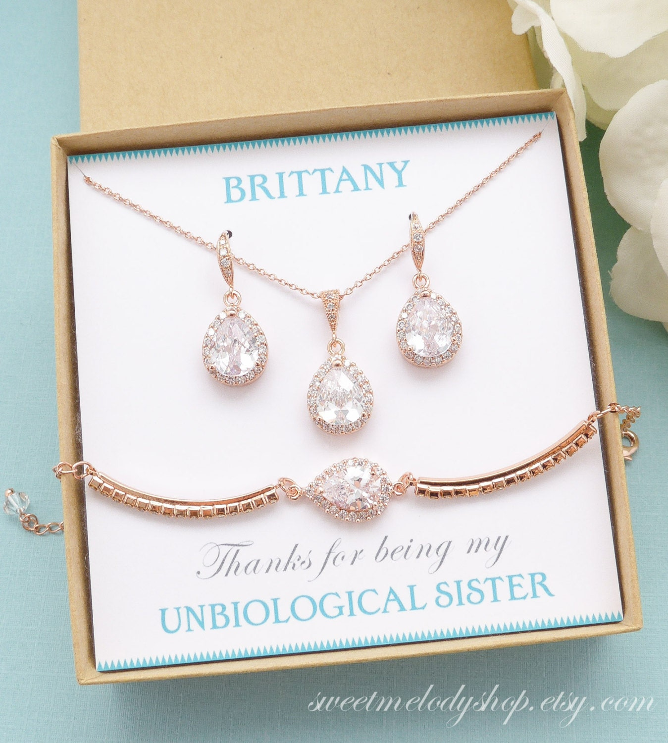 Personalized Bridesmaid Gift Rose Gold Bridesmaid Earrings