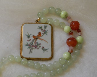 China pendant w jade beads & agate necklace , Chinese vintage illustrated china pendant , beaded jewelry , china pendant , unusual jewelry