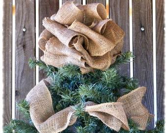 Burlap Christmas Tree Topper - Burlap Tree Topper, Burlap Bow Tree Decor, Burlap Topper, Burlap Decor, Bow Tree Topper, Christmas Tree Bow