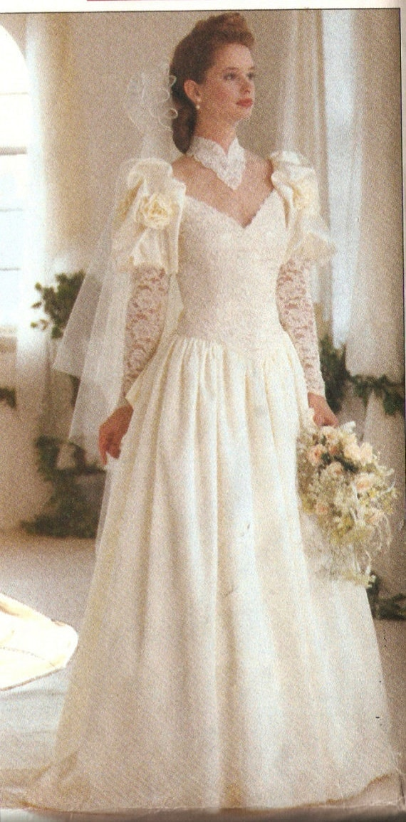 Butterick 4549 retro 1990s victorian style wedding gown and for Victorian style wedding dress