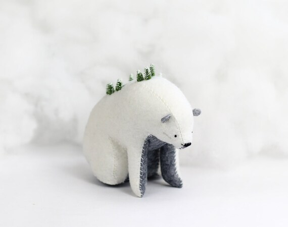 Winter Mountain Bear / Sitting Bear Soft Sculpture / Grizzly