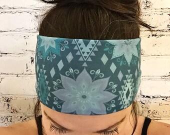 Yoga Headband - Zahra Mandala - Blue - Eco Friendly - Boho Chic