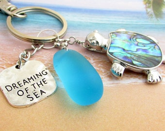 Sea Turtle Keychain, Sea Glass Keychain, Beach Glass Keychain, Beach Keychain, Car Accessories, Gift for Her, Abalone Shell Turtle, KY24