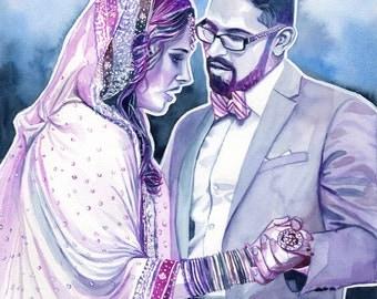 INDIAN WEDDING, GIFT for couple, custom watercolor portrait, pakistani wedding, south asian, hindu, muslim, hinduism, india, anniversary