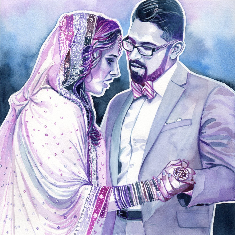 Personalized Wedding Gifts For Couple Indian : INDIAN WEDDING GIFT for couple custom watercolor portrait