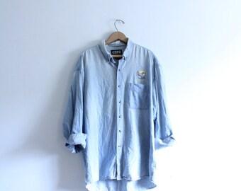 Worldly Denim Button Down Shirt
