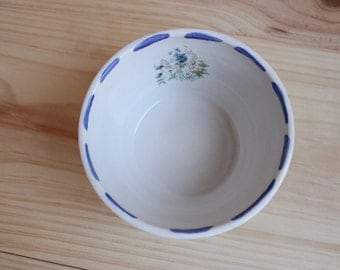 Flower decal bowl Cobalt blue white stoneware small bowl with blue lines in the rim