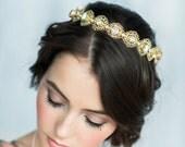 Gold Crystal Crown, Lace Crown, Crystal Headpiece, Bridal Hair Piece, Modern Tiara, Crystal Tiara, Wedding Crown, Bridal Headband, ELENORA