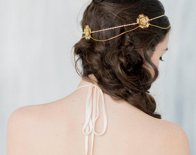 Gold Hair Chain, Gold Headpiece, Crystal Flower crown, Queen Crown, Crystal Circlet, Gold hairpiece, Bohemian Hair Chain, Medieval, EMILIA