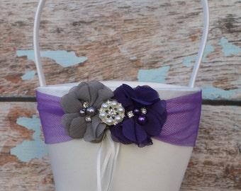 Gray and Purple  Flower Girl Basket , Blue Wedding Basket , Blue Basket , Flower Girl Basket , Wedding