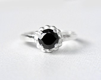 Black Spinel Ring Spinel Engagement Ring Sterling Silver Spinel Black Gem Ring Black Spinel Ring Engagement Promise Ring