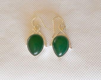 Green Jade Earrings, Sterling Silver Earrings, Green Drop Earrings, Gemstone Earrings, Jade Earrings, Dangle Earrings, Jade Jewelry, Gifts