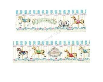 "Masté ""Carousel"" Japanese Washi Tape - Wide 25mm x 7m - Vintage Paris Merry Go Round Horses Fair Rides Carnival"