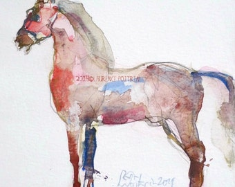 Original Horse Watercolor Colorful horse  original horse art