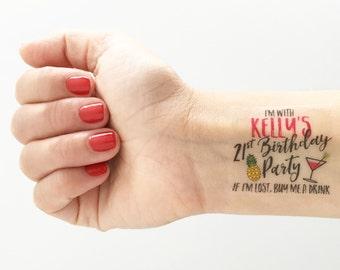 Custom Birthday Temporary Tattoos - Pineapple