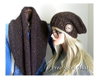 Wool Hat & Scarf Set, Wool Tweed Winter Infinity Scarf, Slouchy hat with button,Infinity Scarf, Gift for Women, Ready to ship for Christmas
