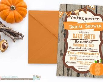 Fall Bridal Shower Invitation, Fall Wedding Shower Invitation, Pumpkin Bridal Shower Invitation, Pumpkin Wedding Shower Invitation