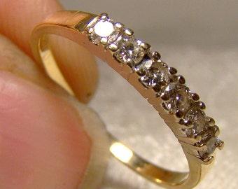 14K Six Diamonds Row Ring Wedding Band 1970s 14 K 6 Anniversary 14 kt
