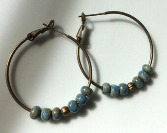 Hoop Earrings   Bohemian Earrings   Brass Earrings   Boho Earrings   Light Blue Earrings  Beaded Hoops   Gypsy Dangles