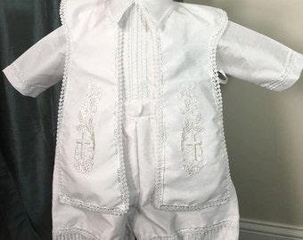 Noah white Baptism outfit for Boy, Four piece Christening set, Blessing outfit, Traje de Bautizo, Ropon del papa para nino, Ajuar Bautismal