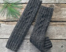 Wool leg warmers women, hand knitted. Wool from Canada dark grey, fall winter accessories