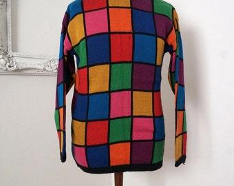 Mod Color Block Checker Jewel Tone Turtle Neck Sweater Women Sz S M