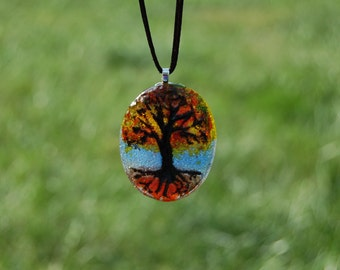 Tree of Life Pendant, Handmade Glass Tree Pendant, Autumn Tree Pendant, Autumn Glass Necklace, Nature Lover Necklace, Fall Jewelry, Tree