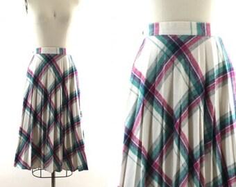 vintage 70s 80s plaid skirt / woolen pleated skirt / purple & white skirt XS